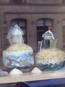 Beach Huts in the window!